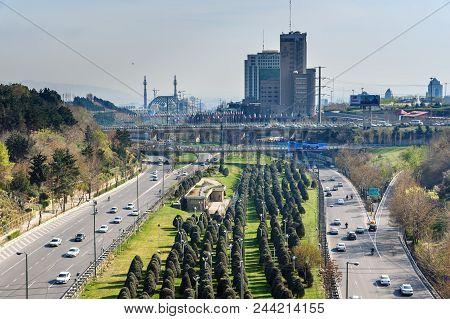 Tehran, Iran - March 19, 2018: View On Modares Highway And Fajr Bridge From Tabiat Bridge. Bridge Co