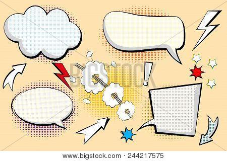 Set Retro Of Cartoon, Speech Sketch. Comic Speech Bubbles. Empty Dialog Clouds In Pop Art Style With