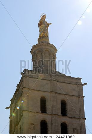 Gilded statue of Virgin Mary at Notre-Dame des Doms d'Avignon - cathedral in Avignon France poster
