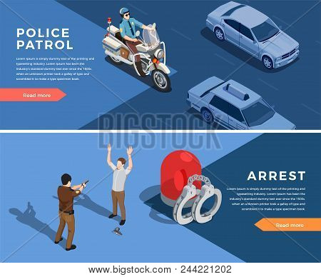 Police Isometric Horizontal Banners Set With Police Patrol Symbols Isolated Vector Illustration