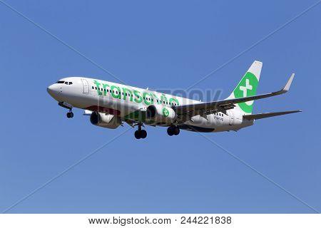 Borispol, Ukraine - May 26, 2018: F-htvg Transavia France Boeing 737-800 Aircraft On The Blue Sky Ba