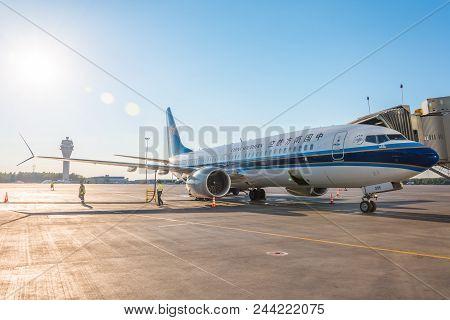 Boeing 737-8 Max China Southern, Airport Pulkovo, Russia Saint-petersbur. 02 June 2018