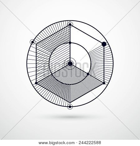 Geometric Technology Vector Black And White Drawing, 3d Technical Backdrop. Illustration Of Engineer