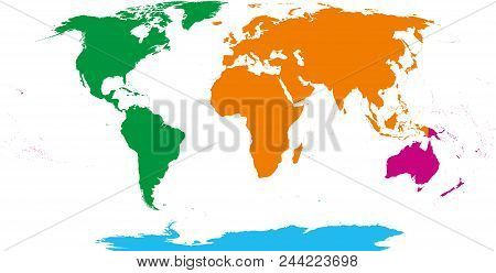 Four Continents Map. America, Africa-eurasia, Australia And Antarctica. Political Map With Shoreline