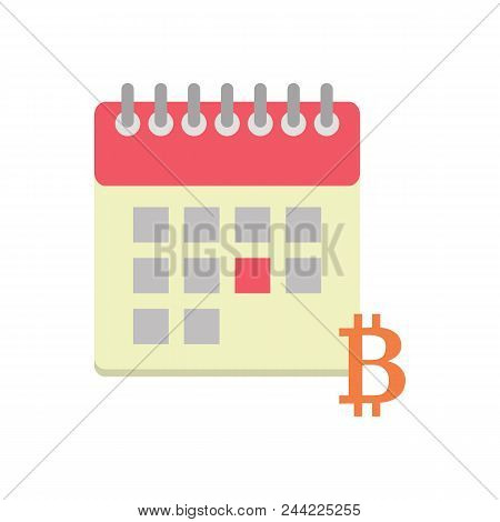Flat Icon With Calendar And Bitcoin, Payday