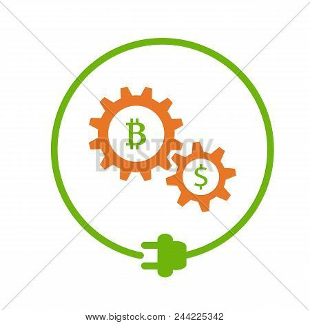 Bitcoin And Dollar Signs In The Circle Of Electric Plug, Cryptocurrency Mining