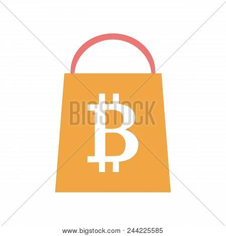 Flat Style Icon With Online Bitcoin Shopping