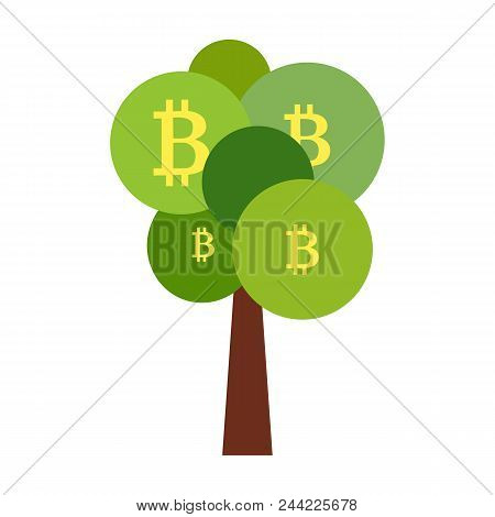 Flat Style Illustration Of Tree With Bitcoins As Symbol Of High Income