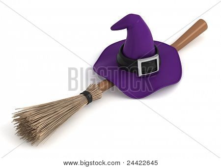 3D Illustration of a Witch Hat and a Broom Stick