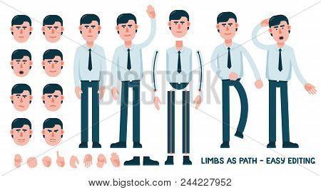 Set For Designing An Office Worker Character. The Limbs Are Saved As Path For Easy Editing And Adjus