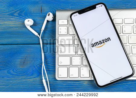 Sankt-petersburg, Russia, June 2, 2018: Amazon Shopping Application Icon On Apple Iphone X Screen Cl