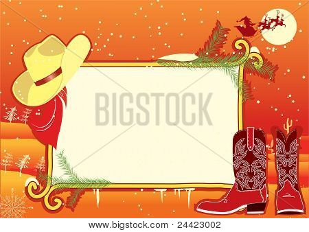 Billboard Frame With Cowboy Hat And Boots.vector
