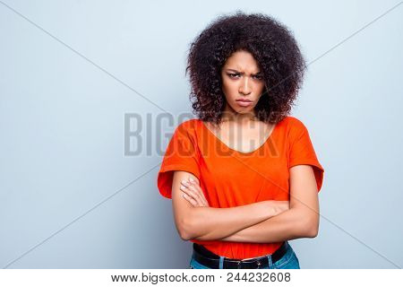 Portrait With Copy Space Empty Place Of Sad Offensive Woman With Modern Hairdo Holding Arms Crossed