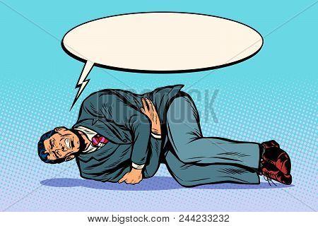 Man Lies Hurts Stomach. The Patient Calls For Help. Pop Art Retro Vector Illustration Comic Cartoon