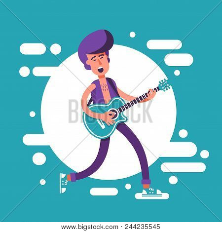 Fashion Man With A Psychobilly Style Haircut Playing On Acoustic Guitar And Sing. Cartoon Illustrati