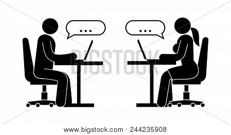 Iconic People. Man And Woman Are Exchanging Messages While Sitting At A Table With A Laptop.