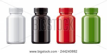 Blank Gloss Bottles Mockups For Pills Or Other Pharmaceutical Preparations. 3d Rendering