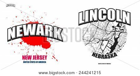 Newark, New Jersey, Logo Design. Two In One Vector Arts. Big Logo With Vintage Letters With Nice Col