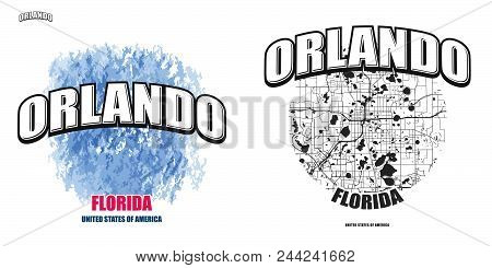 Orlando, Florida, Logo Design. Two In One Vector Arts. Big Logo With Vintage Letters With Nice Color