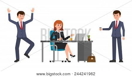 Young Woman Sitting At The Desk, Using Laptop. Young Man Holding Coffee, Happily Laughing. Vector Il