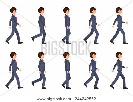 Young Man In Dark Blue Suit Walking Sequence. Vector Illustration Of Moving Cartoon Character Person
