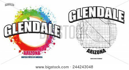 Glendale, Arizona, Logo Design. Two In One Vector Arts. Big Logo With Vintage Letters With Nice Colo
