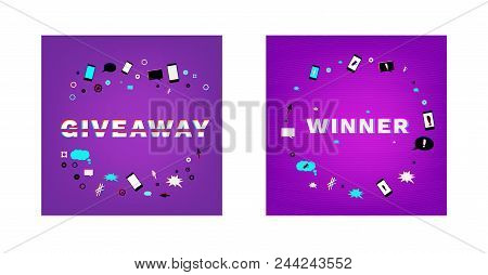 Giveaway And Winner Cards Set.  Glitch Chromatic Aberration  Effect. Element For Graphic Design - Bl