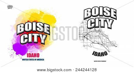 Boise City, Idaho, Logo Design. Two In One Vector Arts. Big Logo With Vintage Letters With Nice Colo