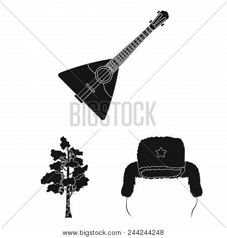 Country Russia, Travel Black Icons In Set Collection For Design. Attractions And Features Vector Sym