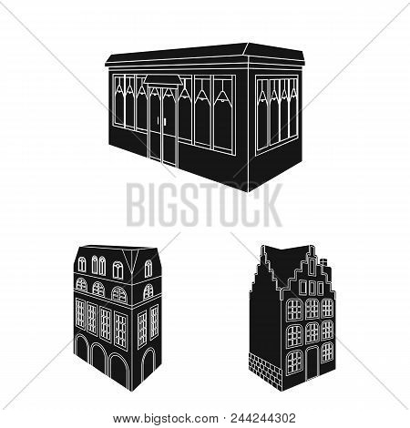 Building And Architecture Black Icons In Set Collection For Design.the Building And Dwelling Vector