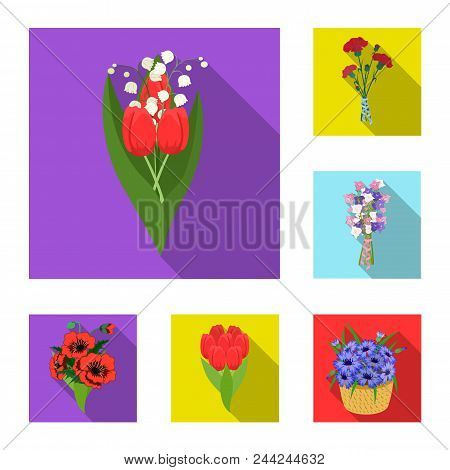 A Bouquet Of Fresh Flowers Flat Icons In Set Collection For Design. Various Bouquets Vector Symbol S