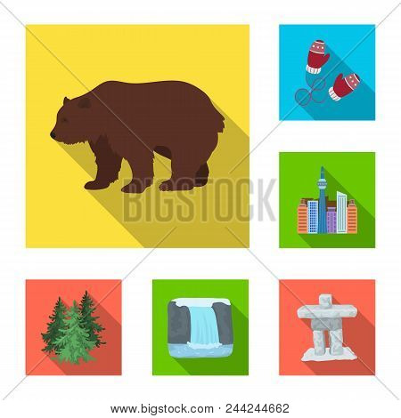 Country Canada Flat Icons In Set Collection For Design. Canada And Landmark Vector Symbol Stock  Ill
