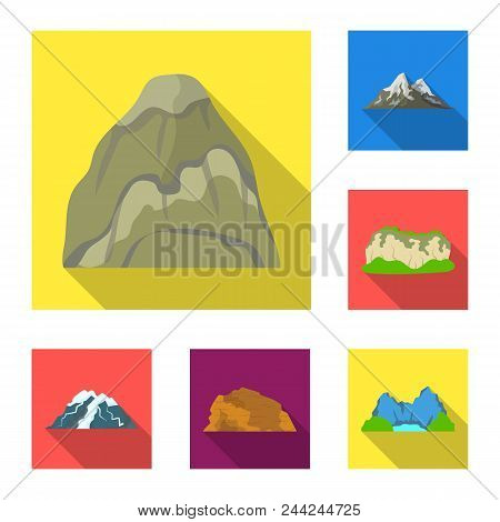 Different Mountains Flat Icons In Set Collection For Design.mountains And Landscape Vector Symbol St