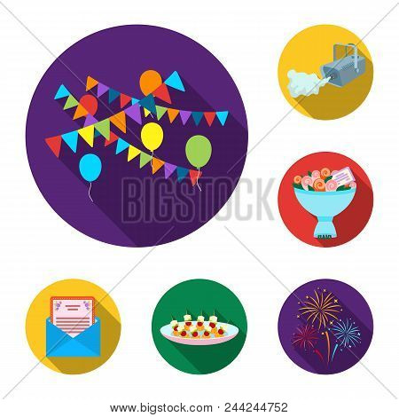 Event Organisation Flat Icons In Set Collection For Design.celebration And Attributes Vector Symbol