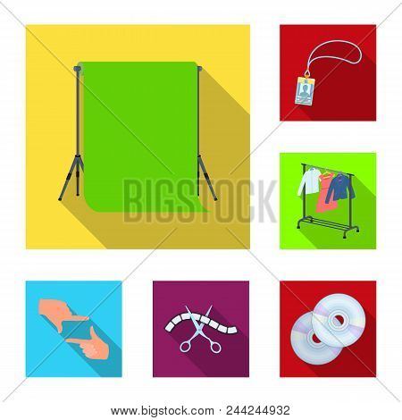 Making A Movie Flat Icons In Set Collection For Design. Attributes And Equipment Vector Symbol Stock