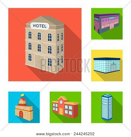 Building And Architecture Flat Icons In Set Collection For Design.the Building And Dwelling Vector I