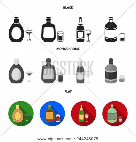 Liquor Chocolate, Champagne, Absinthe, Herbal Liqueur.alcohol Set Collection Icons In Black, Flat, M