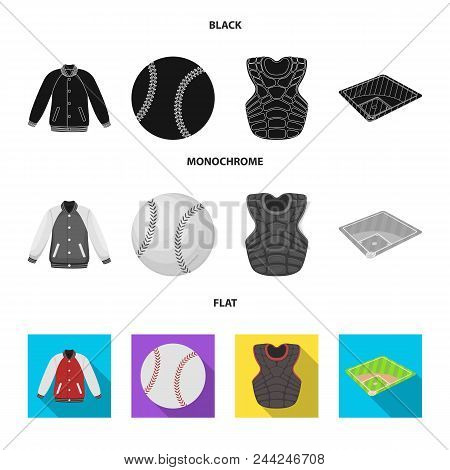 Playground, Jacket, Ball, Protective Vest. Baseball Set Collection Icons In Black, Flat, Monochrome