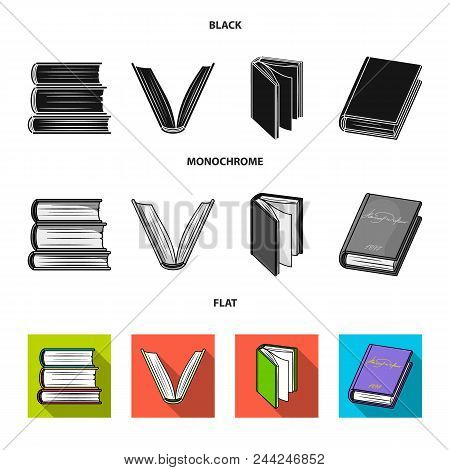 Various Kinds Of Books. Books Set Collection Icons In Black, Flat, Monochrome Style Vector Symbol St