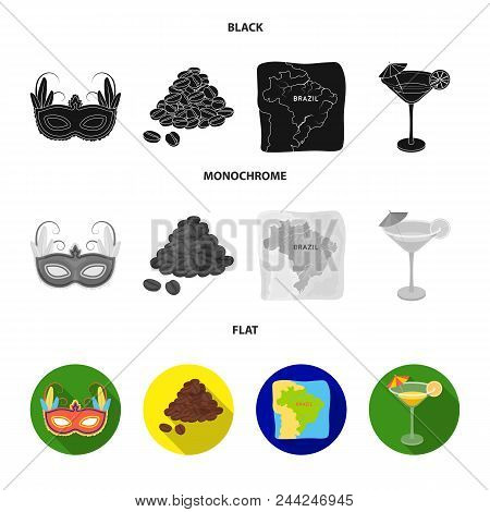 Brazil, Country, Mask, Carnival . Brazil Country Set Collection Icons In Black, Flat, Monochrome Sty