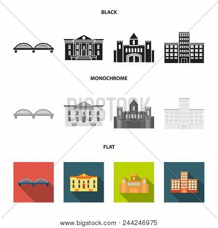 Museum, Bridge, Castle, Hospital.building Set Collection Icons In Black, Flat, Monochrome Style Vect