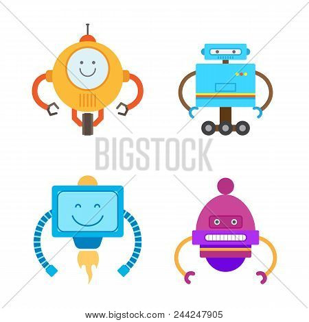 Robots Collection Types Set With Robotic Creatures Robots With Antenna And Hands, Wheels And Emotion