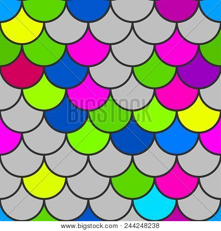 Mermaid Scales. Traditional Japanese Seamless Pattern. Pink Soft Colored Fish Squama. Stock Vector