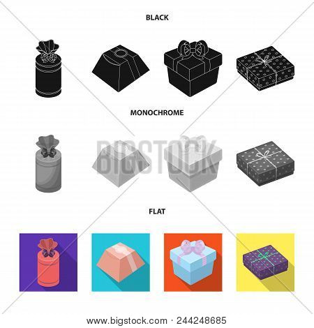 Gift Box With Bow, Gift Bag.gifts And Certificates Set Collection Icons In Black, Flat, Monochrome S