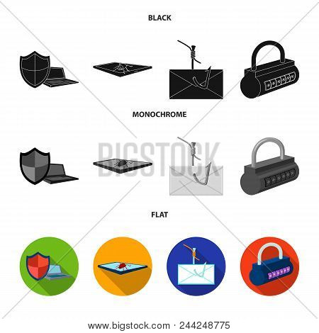Hacker, System, Connection .hackers And Hacking Set Collection Icons In Black, Flat, Monochrome Styl