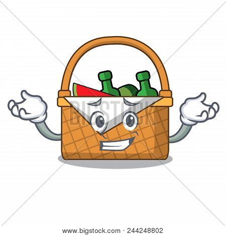 Grinning picnic basket character cartoon vector illustration poster