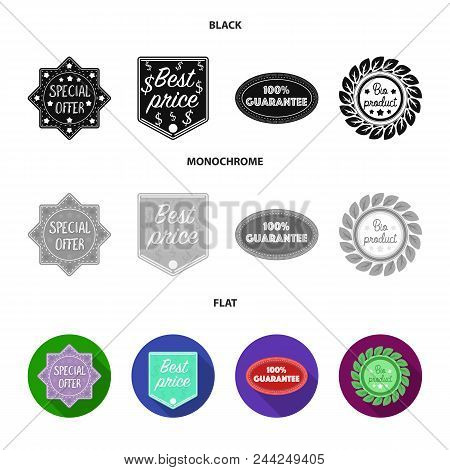 Special Offer, Best Prise, Guarantee, Bio Product.label, Set Collection Icons In Black, Flat, Monoch