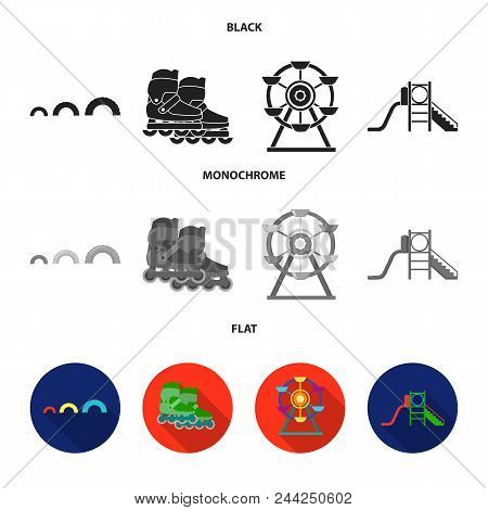 Ferris Wheel With Ladder, Scooter. Playground Set Collection Icons In Black, Flat, Monochrome Style