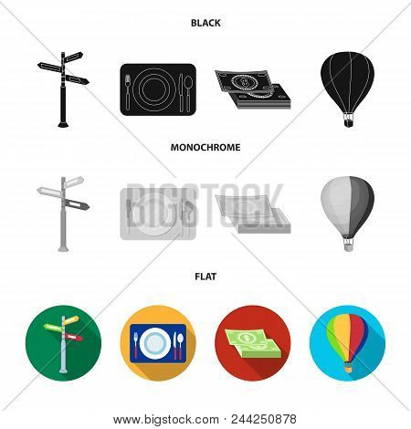 Vacation, Travel, Pointer, Way, Navigation .rest And Travel Set Collection Icons In Black, Flat, Mon