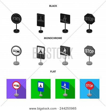 Different Types Of Road Signs Black, Flat, Monochrome Icons In Set Collection For Design. Warning An